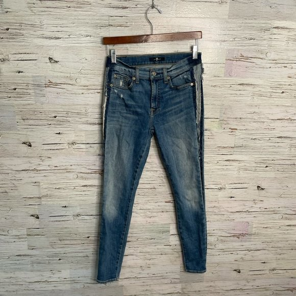7 for all mankind blue skinny jeans size 27